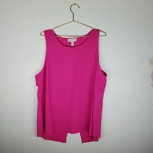 Bright pink sleevless open backed forever 21 +tank